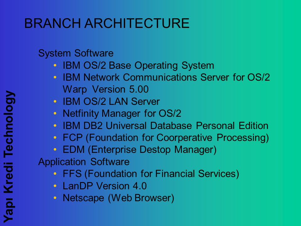 Yapı Kredi Technology BRANCH ARCHITECTURE System Software IBM OS/2 Base Operating System IBM Network Communications Server for OS/2 Warp Version 5.00 IBM OS/2 LAN Server Netfinity Manager for OS/2 IBM DB2 Universal Database Personal Edition FCP (Foundation for Coorperative Processing) EDM (Enterprise Destop Manager) Application Software FFS (Foundation for Financial Services) LanDP Version 4.0 Netscape (Web Browser)