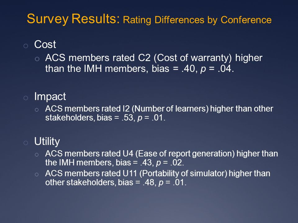 o Cost o ACS members rated C2 (Cost of warranty) higher than the IMH members, bias =.40, p =.04.
