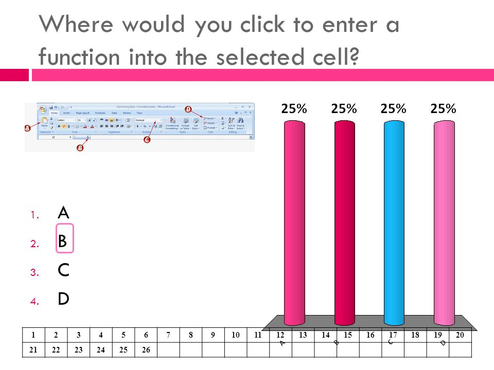 Where would you click to enter a function into the selected cell? 1. A 2. B 3. C 4. D 1234567891011121314151617181920 212223242526