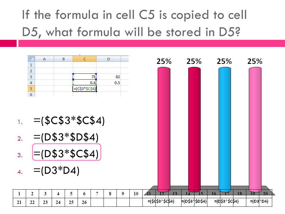 If the formula in cell C5 is copied to cell D5, what formula will be stored in D5? 1. =($C$3*$C$4) 2. =(D$3*$D$4) 3. =(D$3*$C$4) 4. =(D3*D4) 123456789