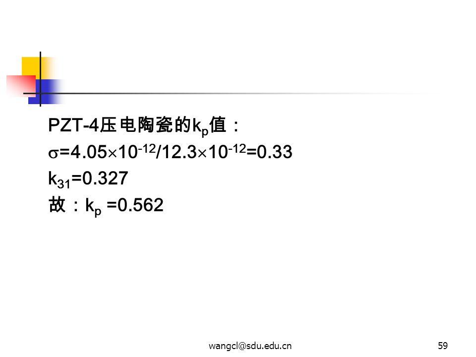 wangcl@sdu.edu.cn59 PZT-4 压电陶瓷的 k p 值:  =4.05  10 -12 /12.3  10 -12 =0.33 k 31 =0.327 故: k p =0.562