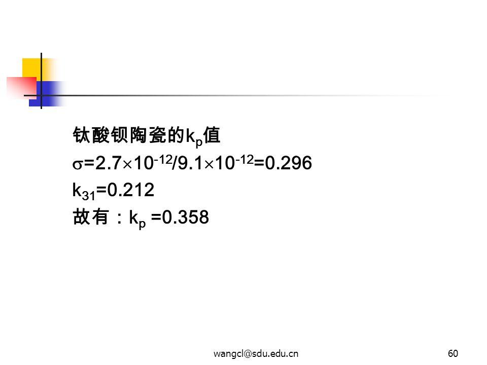 wangcl@sdu.edu.cn60 钛酸钡陶瓷的 k p 值  =2.7  10 -12 /9.1  10 -12 =0.296 k 31 =0.212 故有: k p =0.358