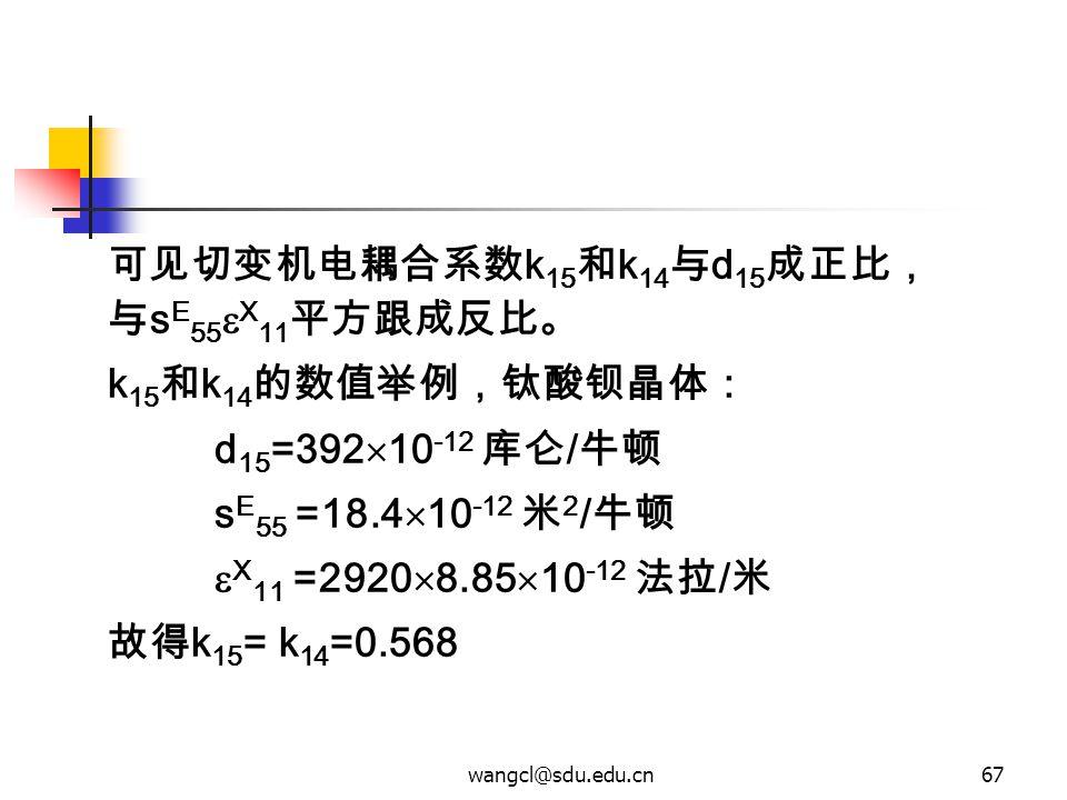 wangcl@sdu.edu.cn67 可见切变机电耦合系数 k 15 和 k 14 与 d 15 成正比, 与 s E 55  X 11 平方跟成反比。 k 15 和 k 14 的数值举例,钛酸钡晶体: d 15 =392  10 -12 库仑 / 牛顿 s E 55 =18.4  10 -