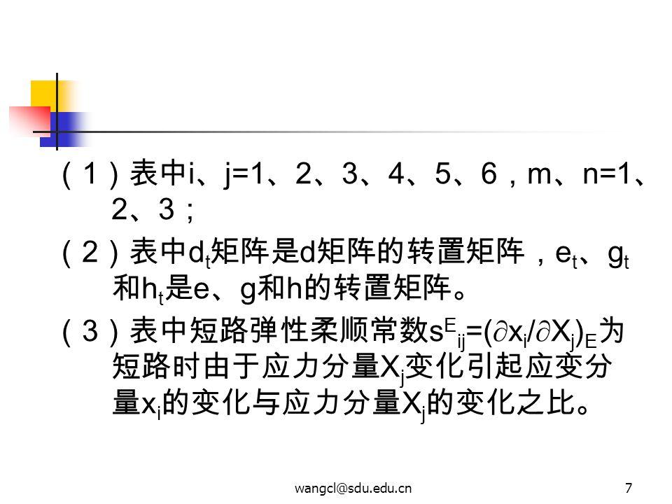 wangcl@sdu.edu.cn7 ( 1 )表中 i 、 j=1 、 2 、 3 、 4 、 5 、 6 , m 、 n=1 、 2 、 3 ; ( 2 )表中 d t 矩阵是 d 矩阵的转置矩阵, e t 、 g t 和 h t 是 e 、 g 和 h 的转置矩阵。 ( 3 )表中短路弹性柔顺