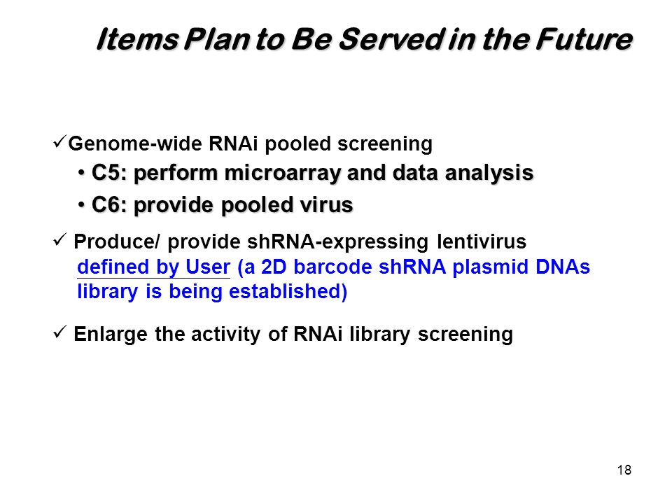 18 Items Plan to Be Served in the Future Genome-wide RNAi pooled screening Produce/ provide shRNA-expressing lentivirus defined by User (a 2D barcode shRNA plasmid DNAs library is being established) Enlarge the activity of RNAi library screening C5: perform microarray and data analysis C5: perform microarray and data analysis C6: provide pooled virus C6: provide pooled virus
