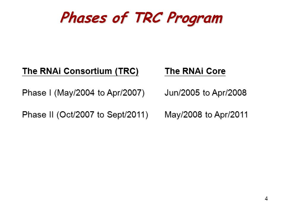 4 The RNAi Consortium (TRC) The RNAi Core Phase I (May/2004 to Apr/2007)Jun/2005 to Apr/2008 Phase II (Oct/2007 to Sept/2011) May/2008 to Apr/2011 Phases of TRC Program