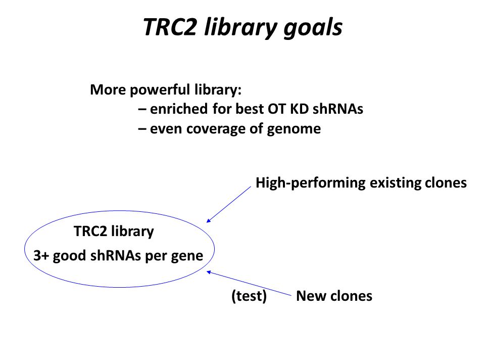 TRC2 library goals More powerful library: – enriched for best OT KD shRNAs – even coverage of genome TRC2 library 3+ good shRNAs per gene High-performing existing clones New clones(test)