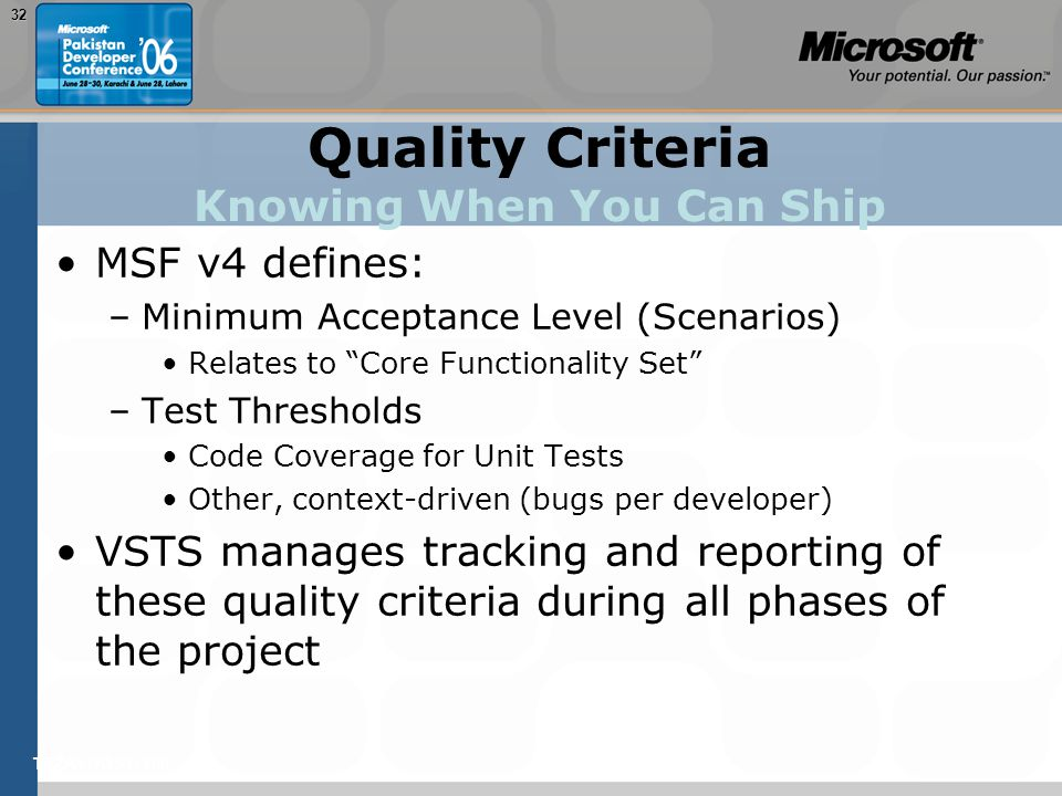 "TEŽAVNOST: 20032 Quality Criteria Knowing When You Can Ship MSF v4 defines: –Minimum Acceptance Level (Scenarios) Relates to ""Core Functionality Set"""