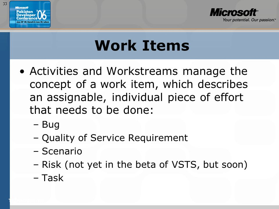 TEŽAVNOST: 20033 Work Items Activities and Workstreams manage the concept of a work item, which describes an assignable, individual piece of effort th