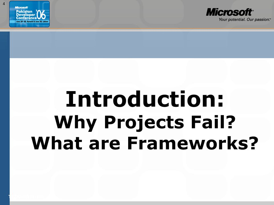 TEŽAVNOST: 2004 Introduction: Why Projects Fail? What are Frameworks?