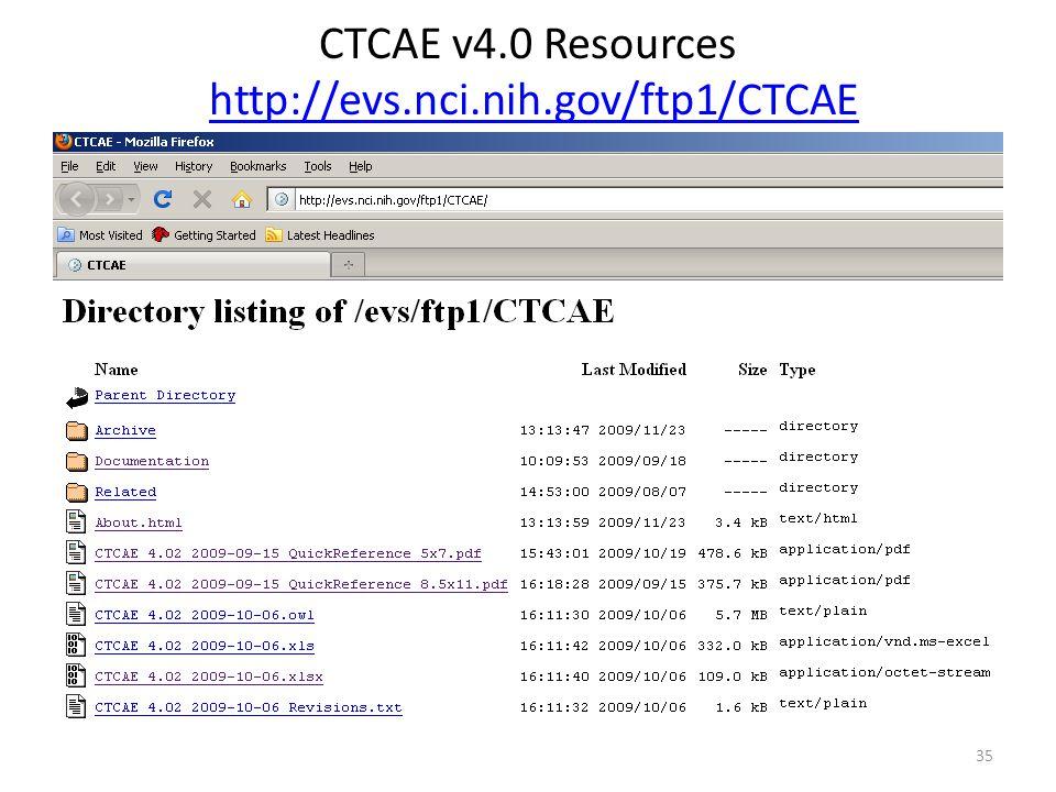CTCAE v4.0 Resources http://evs.nci.nih.gov/ftp1/CTCAEhttp://evs.nci.nih.gov/ftp1/CTCAE 35