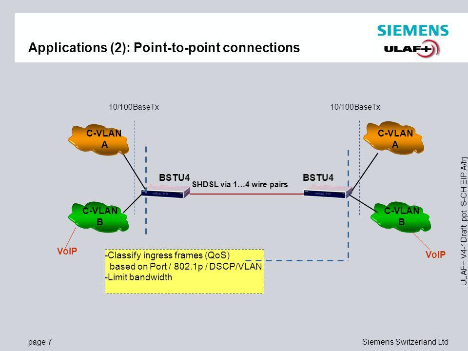 page 8Siemens Switzerland Ltd ULAF+ V4-1Draft..ppt S-CH EIP A/frj Applications (3): Connections via TDM based backbone network BSTU4 C-VLAN A BSTU4 VoIP C-VLAN A C-VLAN B QSTU TDM Network C-LAN B -Classify ingress frames (QoS) based on Port / 802.1p / DSCP/VLAN -Limit bandwidth