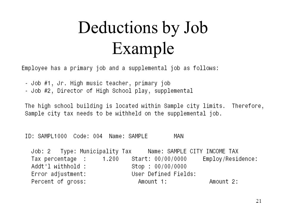 21 Deductions by Job Example