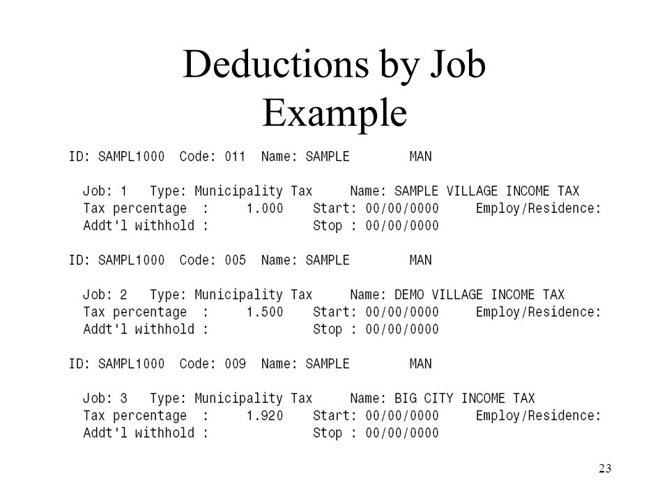 23 Deductions by Job Example