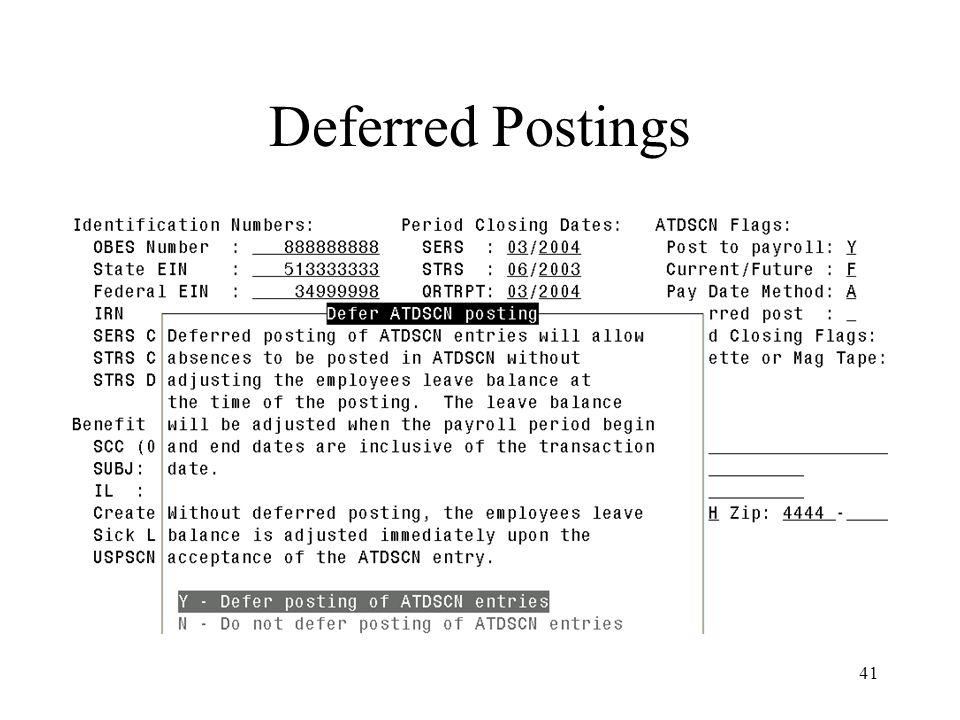 41 Deferred Postings