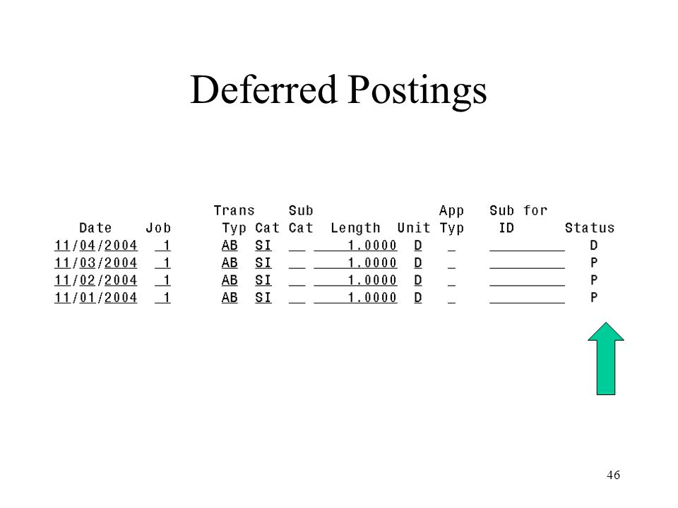 46 Deferred Postings
