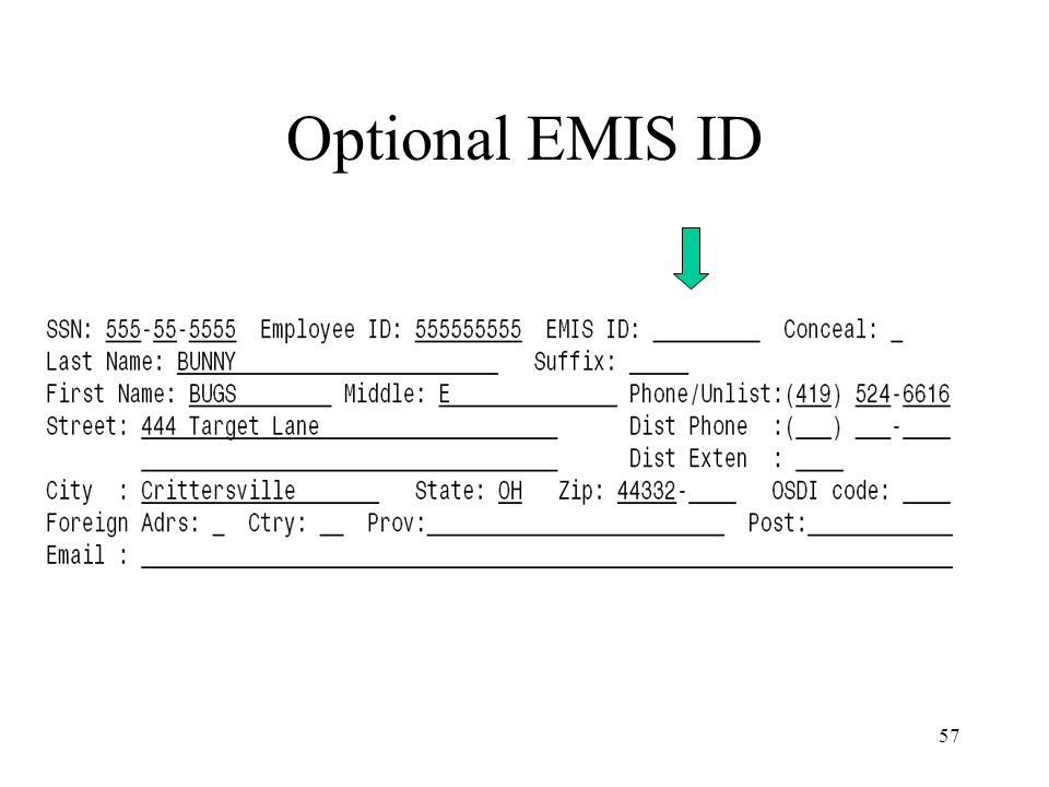 57 Optional EMIS ID