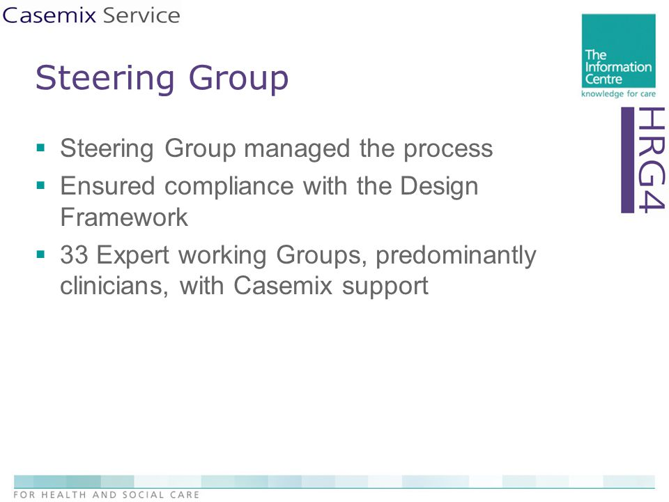 Steering Group  Steering Group managed the process  Ensured compliance with the Design Framework  33 Expert working Groups, predominantly clinicians, with Casemix support
