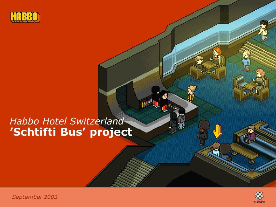 September 2003 Habbo Hotel Switzerland 'Schtifti Bus' project