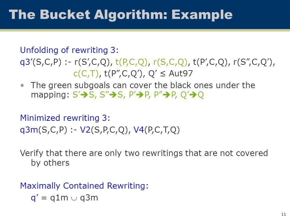 """11 The Bucket Algorithm: Example Unfolding of rewriting 3: q3'(S,C,P) :- r(S',C,Q), t(P,C,Q), r(S,C,Q), t(P',C,Q), r(S"""",C,Q'), c(C,T), t(P"""",C,Q'), Q'"""