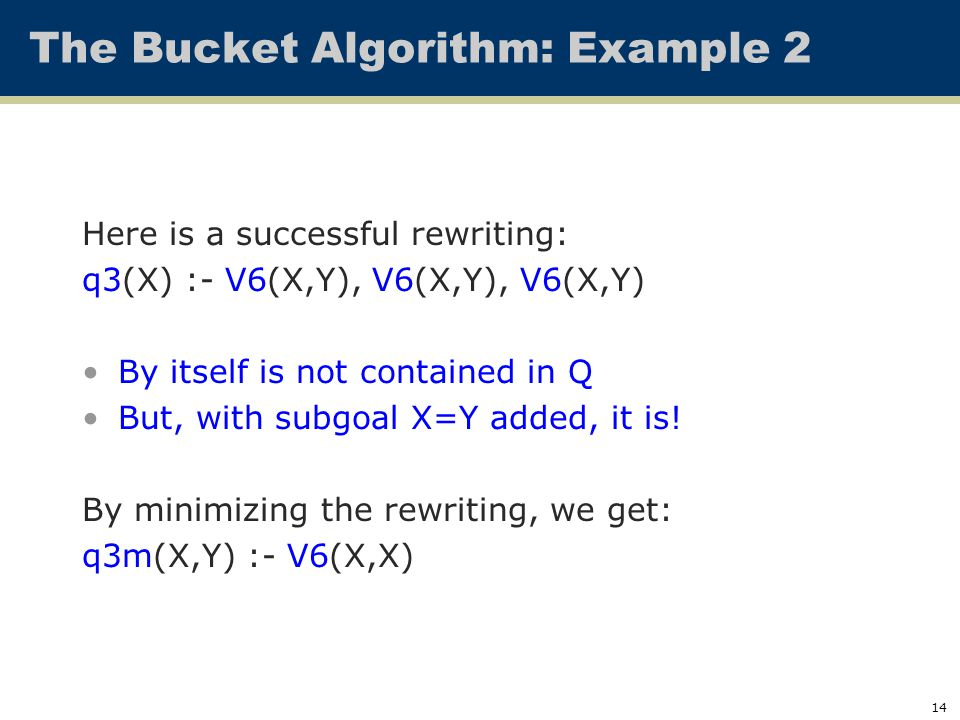 14 The Bucket Algorithm: Example 2 Here is a successful rewriting: q3(X) :- V6(X,Y), V6(X,Y), V6(X,Y) By itself is not contained in Q But, with subgoa