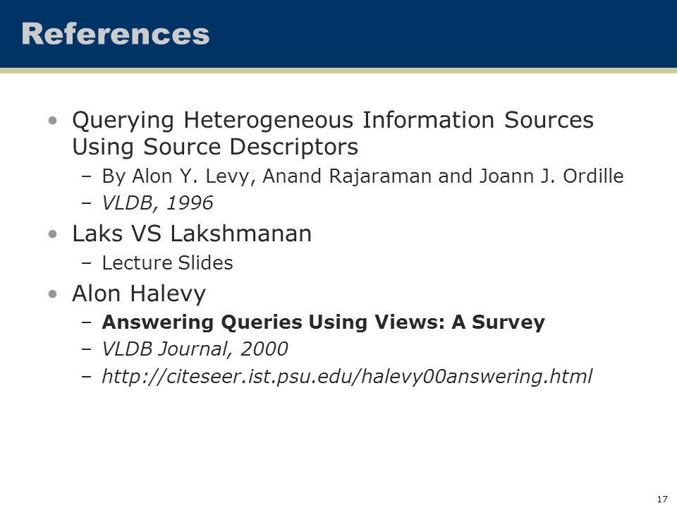 17 References Querying Heterogeneous Information Sources Using Source Descriptors –By Alon Y.