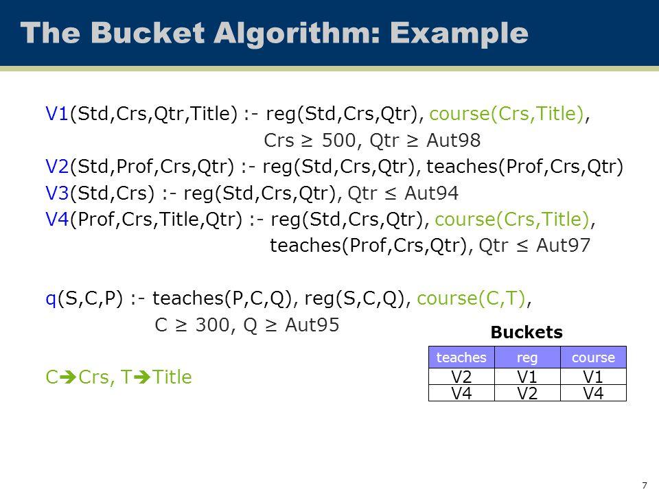 7 The Bucket Algorithm: Example V1(Std,Crs,Qtr,Title) :- reg(Std,Crs,Qtr), course(Crs,Title), Crs ≥ 500, Qtr ≥ Aut98 V2(Std,Prof,Crs,Qtr) :- reg(Std,Crs,Qtr), teaches(Prof,Crs,Qtr) V3(Std,Crs) :- reg(Std,Crs,Qtr), Qtr ≤ Aut94 V4(Prof,Crs,Title,Qtr) :- reg(Std,Crs,Qtr), course(Crs,Title), teaches(Prof,Crs,Qtr), Qtr ≤ Aut97 q(S,C,P) :- teaches(P,C,Q), reg(S,C,Q), course(C,T), C ≥ 300, Q ≥ Aut95 C  Crs, T  Title V2 Buckets V4 teachesregcourse V1 V2 V1 V4