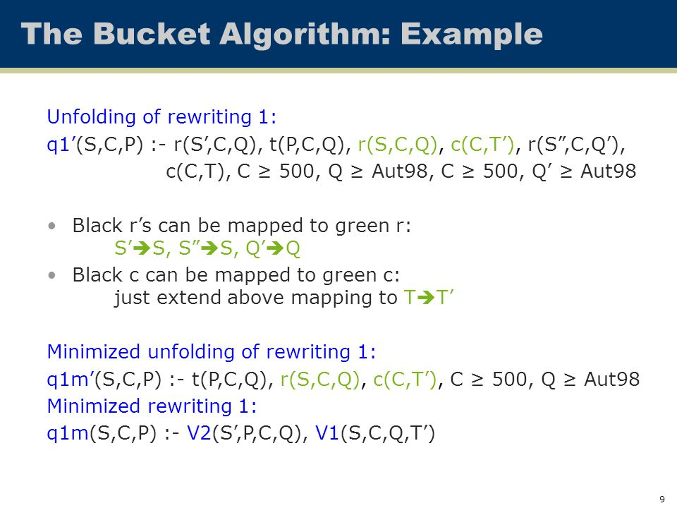 9 The Bucket Algorithm: Example Unfolding of rewriting 1: q1'(S,C,P) :- r(S',C,Q), t(P,C,Q), r(S,C,Q), c(C,T'), r(S ,C,Q'), c(C,T), C ≥ 500, Q ≥ Aut98, C ≥ 500, Q' ≥ Aut98 Black r's can be mapped to green r: S'  S, S  S, Q'  Q Black c can be mapped to green c: just extend above mapping to T  T' Minimized unfolding of rewriting 1: q1m'(S,C,P) :- t(P,C,Q), r(S,C,Q), c(C,T'), C ≥ 500, Q ≥ Aut98 Minimized rewriting 1: q1m(S,C,P) :- V2(S',P,C,Q), V1(S,C,Q,T')