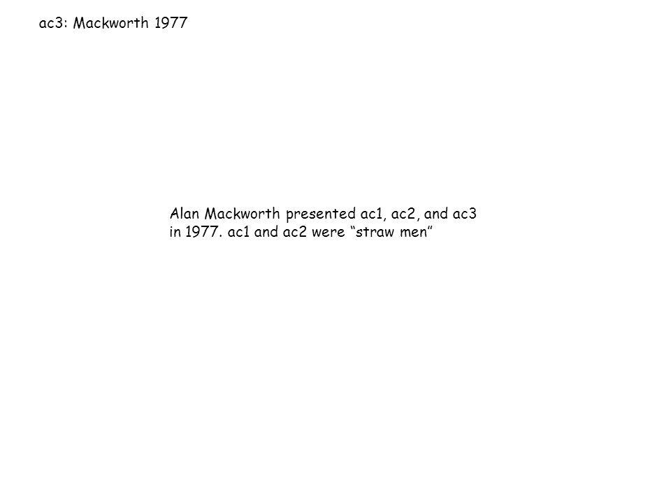 """ac3: Mackworth 1977 Alan Mackworth presented ac1, ac2, and ac3 in 1977. ac1 and ac2 were """"straw men"""""""