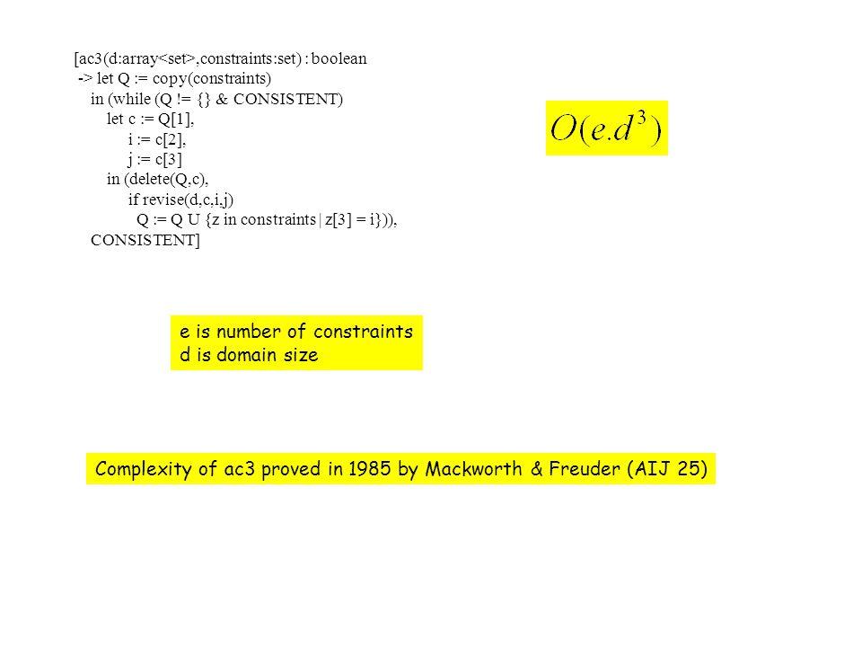 [ac3(d:array,constraints:set) : boolean -> let Q := copy(constraints) in (while (Q != {} & CONSISTENT) let c := Q[1], i := c[2], j := c[3] in (delete(