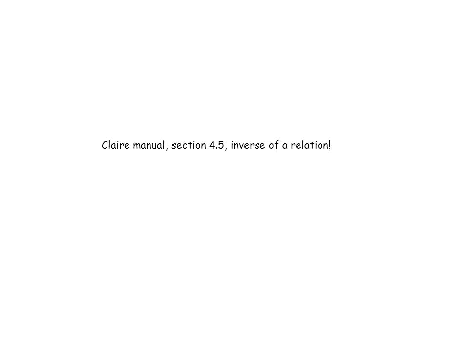Claire manual, section 4.5, inverse of a relation!
