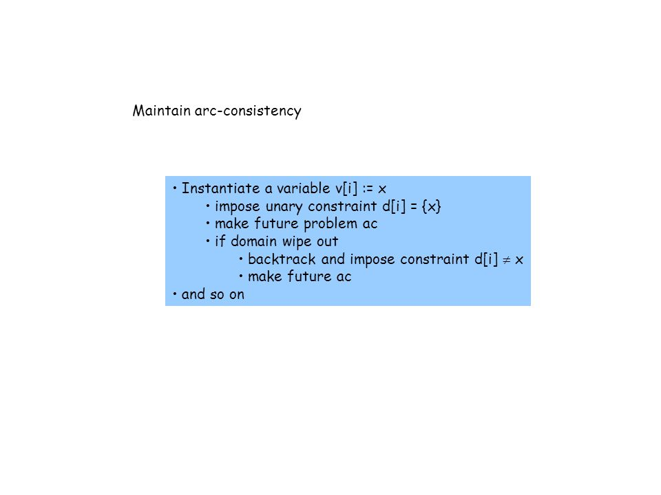 Maintain arc-consistency Instantiate a variable v[i] := x impose unary constraint d[i] = {x} make future problem ac if domain wipe out backtrack and impose constraint d[i]  x make future ac and so on