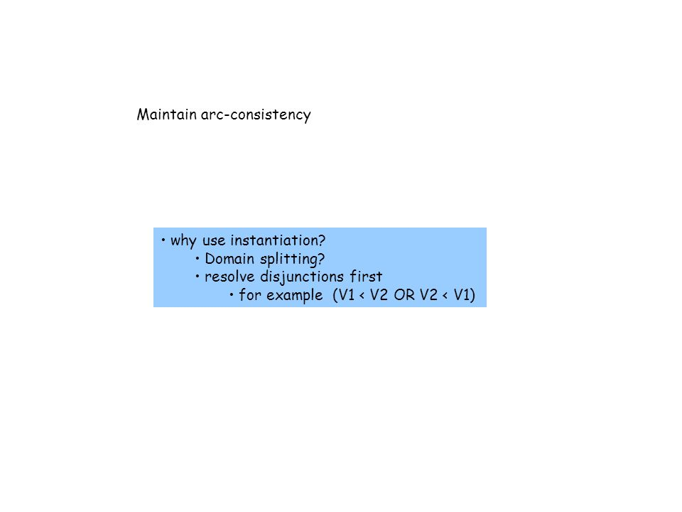 Maintain arc-consistency why use instantiation. Domain splitting.