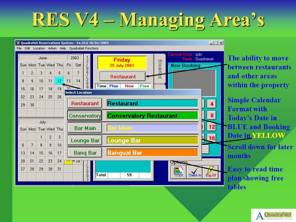 Drop Down Menus ensure easy movement between functions Simple Reporting By Criteria RES V4 – Reporting