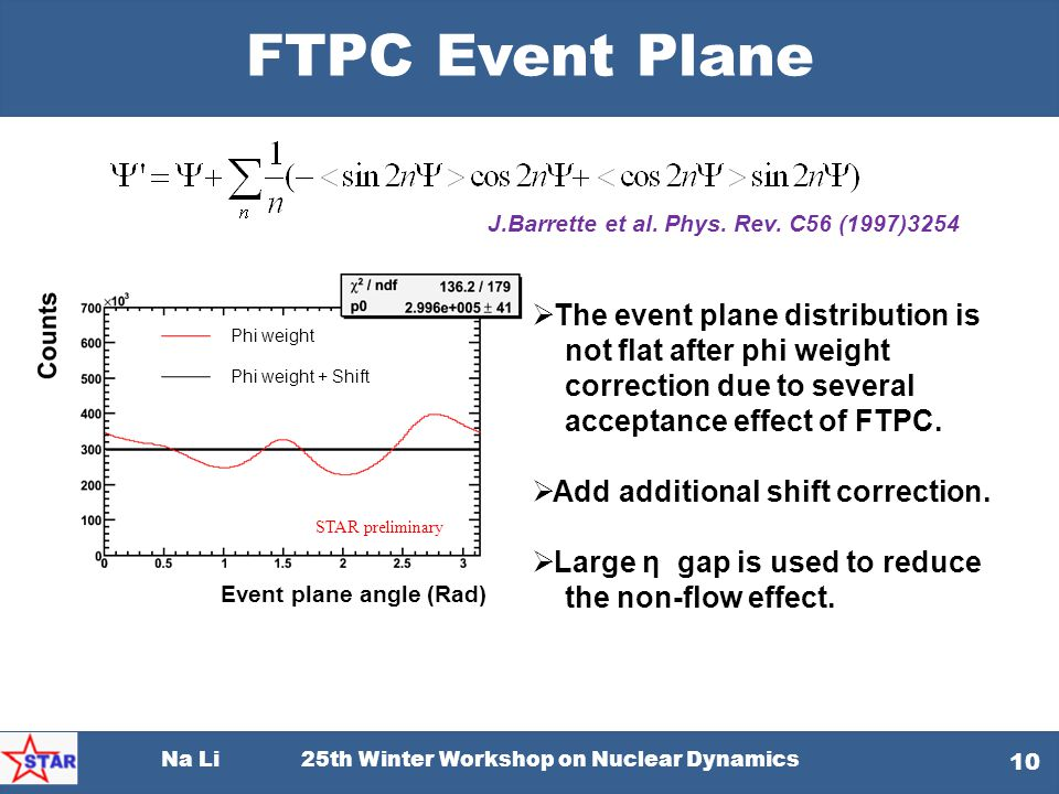 Na Li 25th Winter Workshop on Nuclear Dynamics 10 FTPC Event Plane J.Barrette et al. Phys. Rev. C56 (1997)3254  The event plane distribution is not f