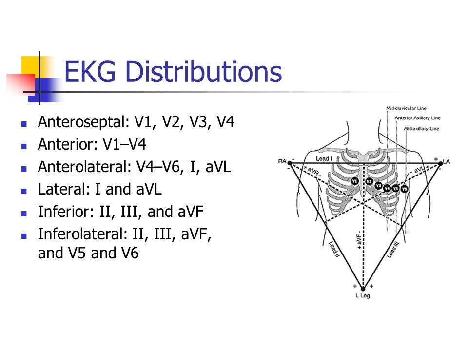 EKG Distributions Anteroseptal: V1, V2, V3, V4 Anterior: V1–V4 Anterolateral: V4–V6, I, aVL Lateral: I and aVL Inferior: II, III, and aVF Inferolateral: II, III, aVF, and V5 and V6