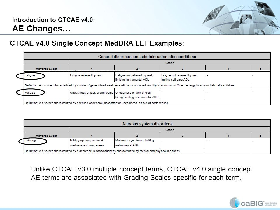 Introduction to CTCAE v4.0: AE Changes… CTCAE v4.0 Single Concept MedDRA LLT Examples: Unlike CTCAE v3.0 multiple concept terms, CTCAE v4.0 single concept AE terms are associated with Grading Scales specific for each term.