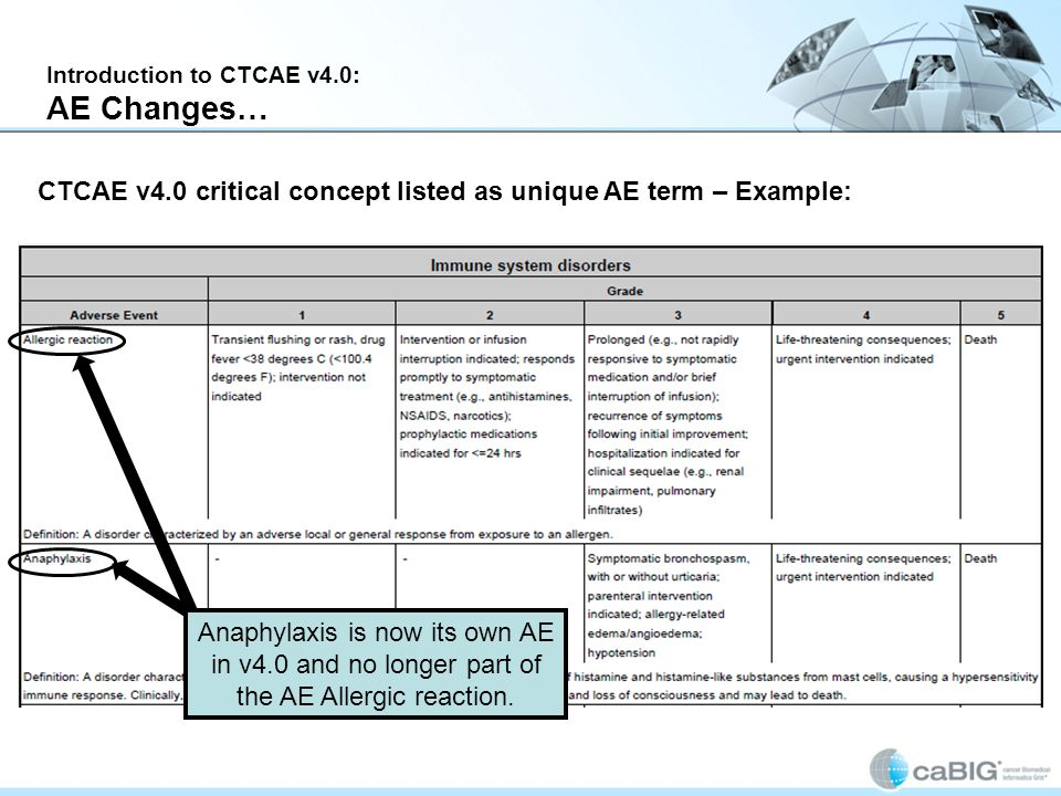 Introduction to CTCAE v4.0: AE Changes… CTCAE v4.0 critical concept listed as unique AE term – Example: Anaphylaxis is now its own AE in v4.0 and no longer part of the AE Allergic reaction.