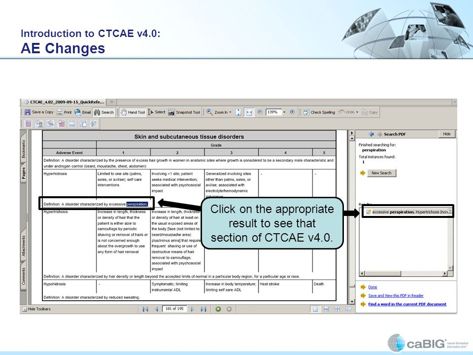Introduction to CTCAE v4.0: AE Changes Click on the appropriate result to see that section of CTCAE v4.0.