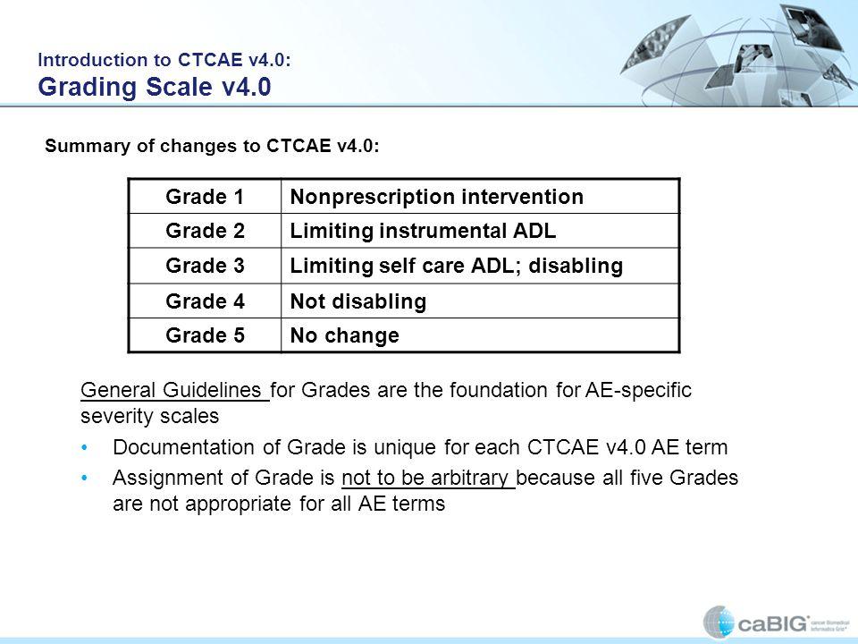 Grade 1Nonprescription intervention Grade 2Limiting instrumental ADL Grade 3Limiting self care ADL; disabling Grade 4Not disabling Grade 5No change Ge