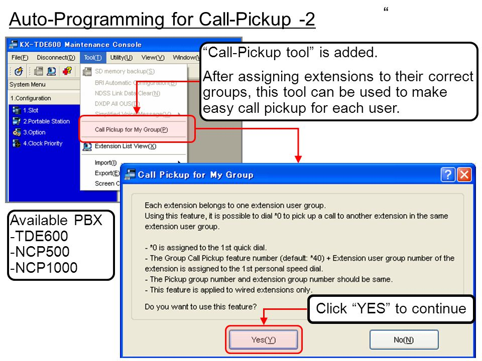 """""""Call-Pickup tool"""" is added. After assigning extensions to their correct groups, this tool can be used to make easy call pickup for each user. """" Auto-"""