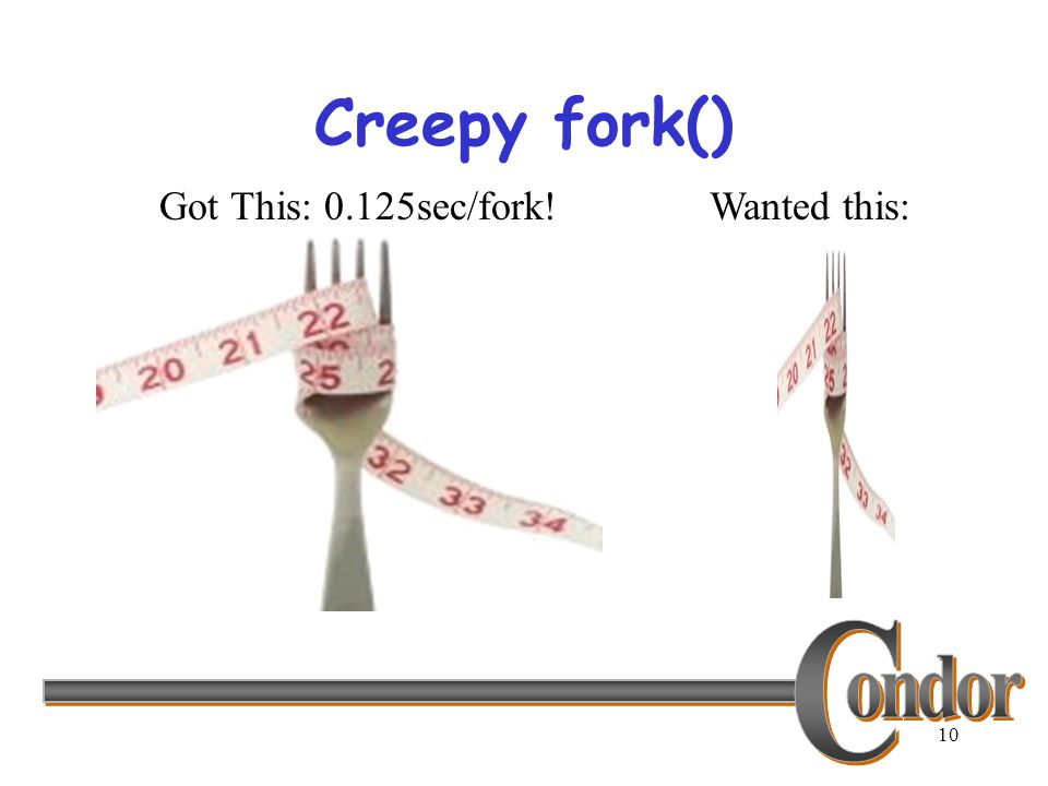 10 Creepy fork() Got This: 0.125sec/fork!Wanted this: