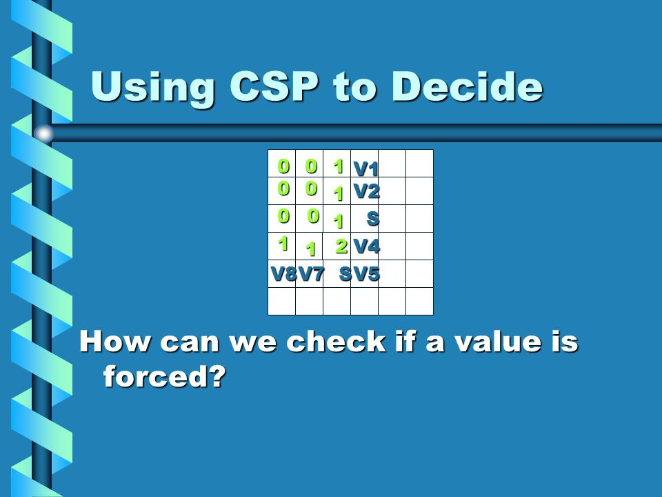 Using CSP to Decide 0 2 1 1 10 00 00 1 1 V1 V2 S V4 V8V7SV5 How can we check if a value is forced