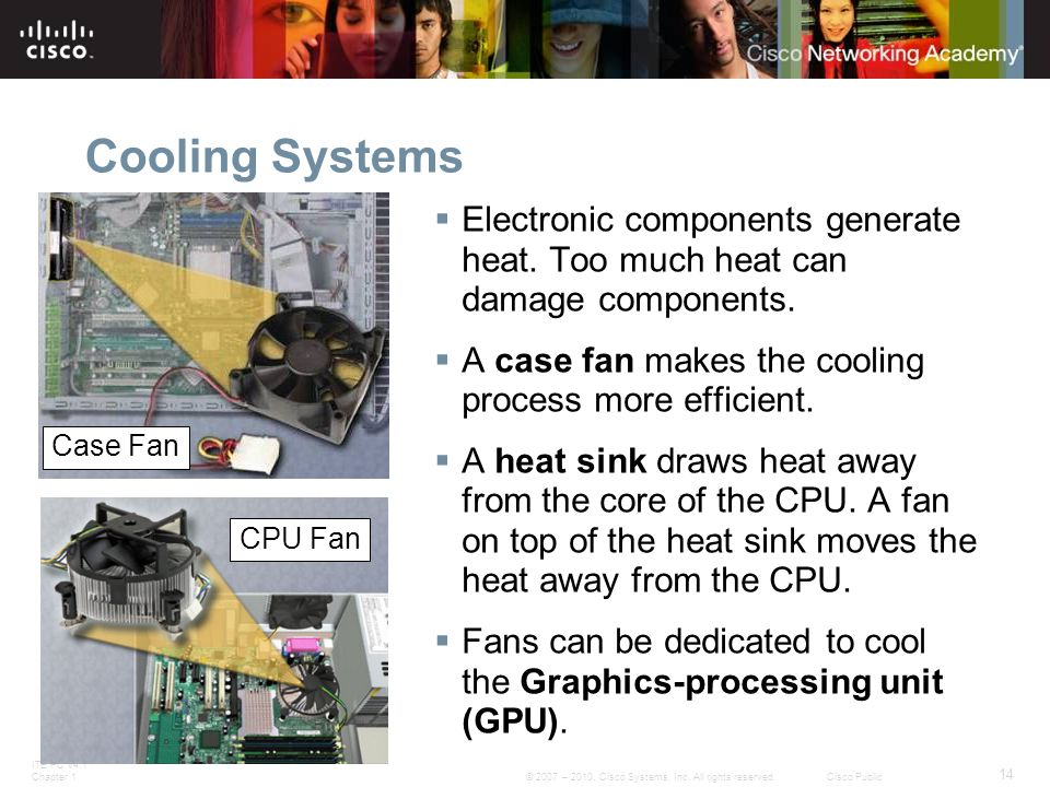 ITE PC v4.1 Chapter 1 14 © 2007 – 2010, Cisco Systems, Inc. All rights reserved. Cisco Public Cooling Systems  Electronic components generate heat. T