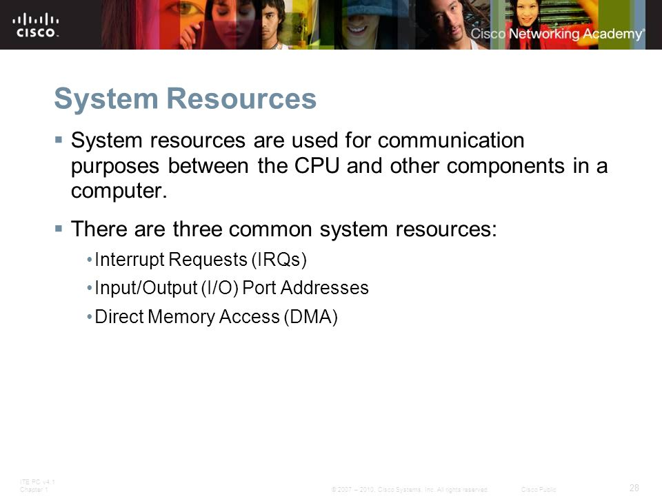 ITE PC v4.1 Chapter 1 28 © 2007 – 2010, Cisco Systems, Inc. All rights reserved. Cisco Public System Resources  System resources are used for communi