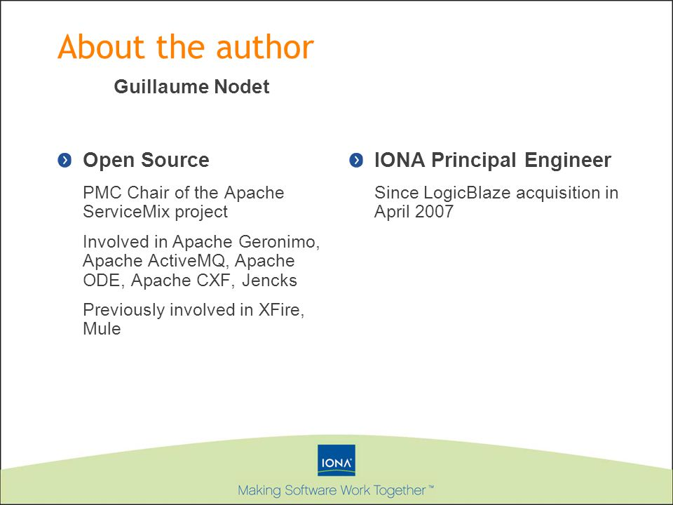 About the author Open Source PMC Chair of the Apache ServiceMix project Involved in Apache Geronimo, Apache ActiveMQ, Apache ODE, Apache CXF, Jencks P