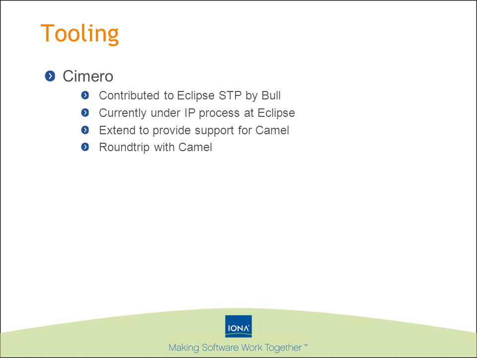Tooling Cimero Contributed to Eclipse STP by Bull Currently under IP process at Eclipse Extend to provide support for Camel Roundtrip with Camel