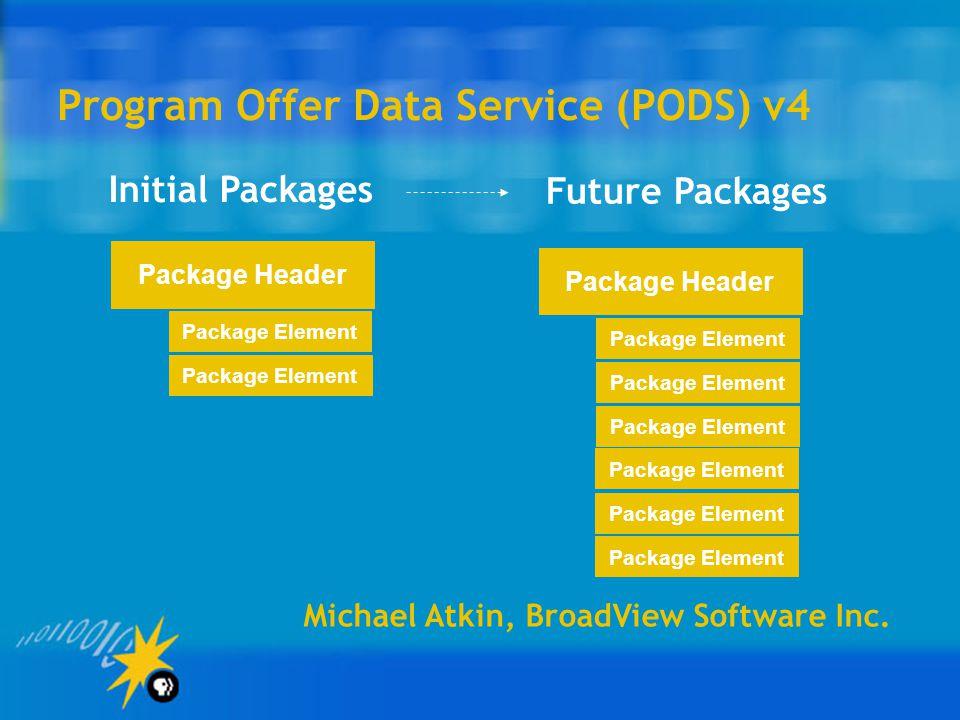 Program Offer Data Service (PODS) v4 Michael Atkin, BroadView Software Inc.