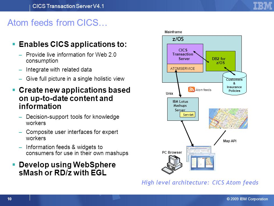 CICS Transaction Server V4.1 © 2009 IBM Corporation 10 Atom feeds from CICS…  Enables CICS applications to: –Provide live information for Web 2.0 consumption –Integrate with related data –Give full picture in a single holistic view  Create new applications based on up-to-date content and information –Decision-support tools for knowledge workers –Composite user interfaces for expert workers –Information feeds & widgets to consumers for use in their own mashups  Develop using WebSphere sMash or RD/z with EGL High level architecture: CICS Atom feeds PC Browser Map API z/OS CICS Transaction ServerDB2 for z/OS ATOMSERVICE Customers & Insurance Policies Mainframe Atom feeds IBM Lotus Mashups Server Unix Servlet