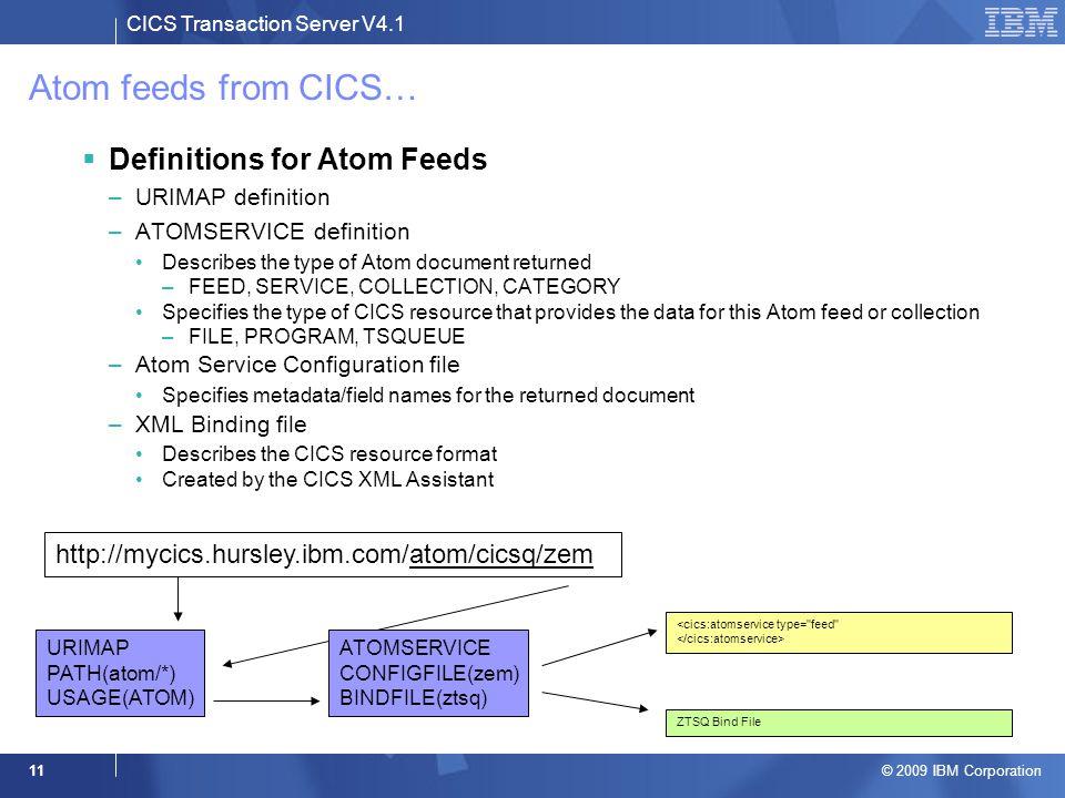 CICS Transaction Server V4.1 © 2009 IBM Corporation 11 Atom feeds from CICS…  Definitions for Atom Feeds –URIMAP definition –ATOMSERVICE definition D